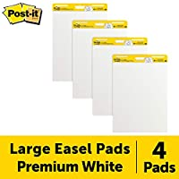 Post-it Easel Pad, 25 x 30-Inches, White, 30-Sheets/Pad, 4-Pads/Pack