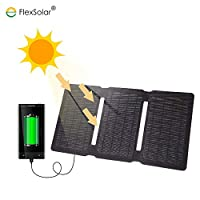 FlexSola 5V USB 20W ETFE 雙便攜式太陽能便攜式充電器,適用于 iPhone、iPad、Android 手機、移動電源和其他 USB 充電設備,適用于露營、徒步、釣魚戶外活動FCS-F2-050200 594mm * 278mm 黑色