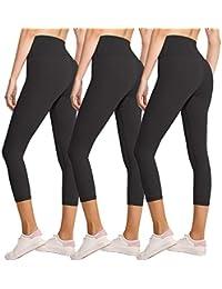 3 件装女式打底裤 - 不透视高腰收腹瑜伽裤健身跑步打底裤 - 加大码 3 Pack Capris Black,black,black One Size(S-M SIZE 2-12)