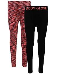 Body Glove 女孩 2 件装无缝柔软弹力运动瑜伽打底裤