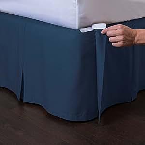 Ashton 可拆卸床裙(35.56 厘米垂布)- 易穿/易脱褶床裙 - ShopBedding 出品 *蓝 Twin - 14'' Drop 332514TNAV