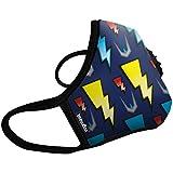 Vogmask N99CV时尚儿童防雾霾口罩/pm2.5防雾霾口罩Lightning(闪电超人)1只 蓝底+多色图案 S号(3-7岁儿童20-50磅/11-22公斤)(进口)