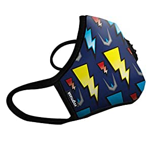 Vogmask N99CV时尚儿童防雾霾口罩/pm2.5防雾霾口罩Lightning(闪电超人)1只 蓝底+多色图案 S号(3-7岁儿童25-50磅/11-22公斤)(进口)