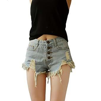 YSJ 女式中腰牛仔短裤复古破洞性感复古牛仔裤短裤 牛仔裤 浅蓝色 小号