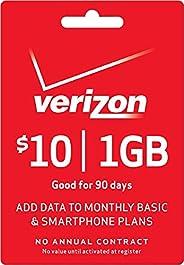 Verizon 预付费 - 10 美元无线分钟预付费顶部数据附加 PIN 卡码(邮件送货)