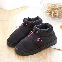 冬季保暖羽绒布棉拖鞋防滑包跟保暖舒适防滑静音男女室内居家情侣家居厚底月子棉鞋 (38-39适合(37-38), 女黑色)