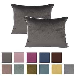 Queenie - 2 件纯色绳绒白色嵌边装饰枕套抱枕套有不同的颜色和尺寸 深灰色 13.75 x 19.75 Inch (35 x 50 Cm)