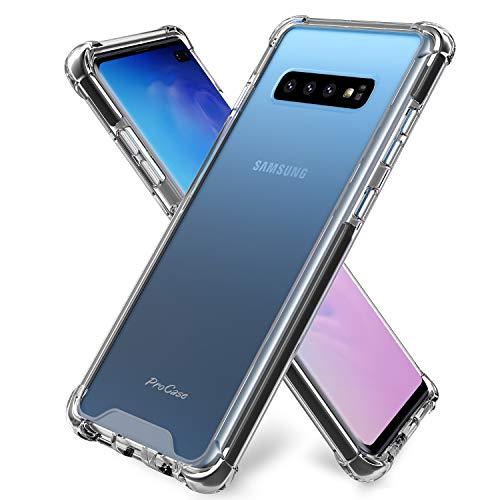 ProCase Galaxy S10 Plus 手机壳,纤薄混合 TPU 缓冲套带加固边角,透明防刮坚固保护套适用于三星 Galaxy S10+ 2019 版本 - 透明