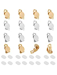 Auxsoul 16 件圆形平背托盘耳环夹 + 16 件耳环垫适用于非穿孔耳朵和非穿孔 DIY 耳环制作首饰(银色和金色)