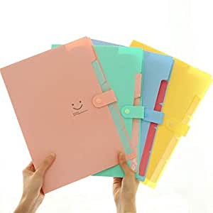 LOYMR (4 个装)5 个口袋可扩展文件文件夹,A4 字母尺寸按扣开合纸整理器,欧根包公文包(粉绿色蓝色黄色)