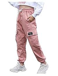BoerMee 女孩运动工装裤弹性高腰嘻哈工作服慢跑裤