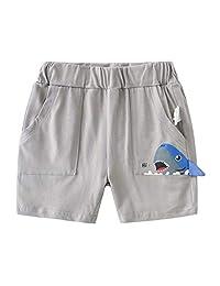 男童夏季过膝棉鲨鱼运动短裤儿童松紧腰短裤