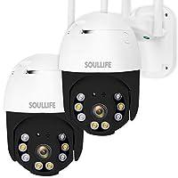 SoulLife 户外*摄像头,WiFi 摄像头1080P 高清平移倾斜变焦,运动检测警报,双向音频夜视,支持*大128GB SD WiFi家庭室内摄像头,2包(B-黑色)