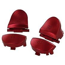 Hisonders 铝合金金属 L1 R1 L2 R2 触发按钮,带 2 个弹簧,适用于 PS4 *代控制器 红色