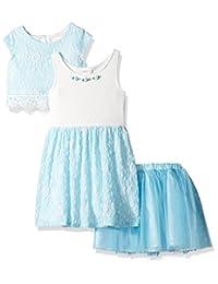 Youngland 女童 3 件套,连衣裙,波浪上衣,芭蕾舞短裙