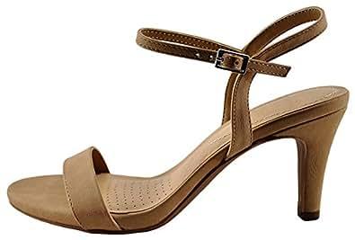 Cambridge Select 女士单带露趾搭扣踝绑带中跟露跟凉鞋 天然 Nbpu 10 M US