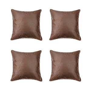 LOFT Store Primitive 抱枕套 4 件套装饰枕套 靠垫套 适用于沙发卧室轿车(棕色、咖啡色、奶油色、黑色和奶油色、18(宽x18L) Brown(set of 4) 18Wx18L 43222-18306