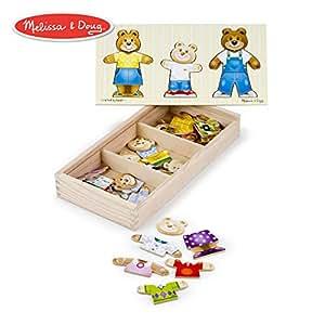 Melissa&Doug 美丽莎和豆豆 木质小熊家换装秀拼图