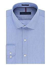 Tommy Hilfiger 男式免烫修身条纹宽领衬衫
