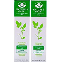 Nature's Gate Fluoride Free Toothpaste Wintergreen Gel With Cranberry, Pomegranate, White Tea, Grapeseed, Calcium, Aloe, Ginger and Bisabolol, 5 oz (141 g) (Pack of 2)