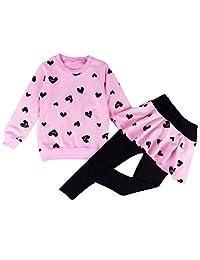 DDSOL 女童服装套装心印花连帽衫上衣 + 长长裙 2 件套