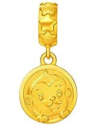 周大福 十二生肖猴 机智猴 足金黄金吊坠(工费:48计价) F205553 足金 约1.91g(亚马逊自营商品, 由供应商配送)