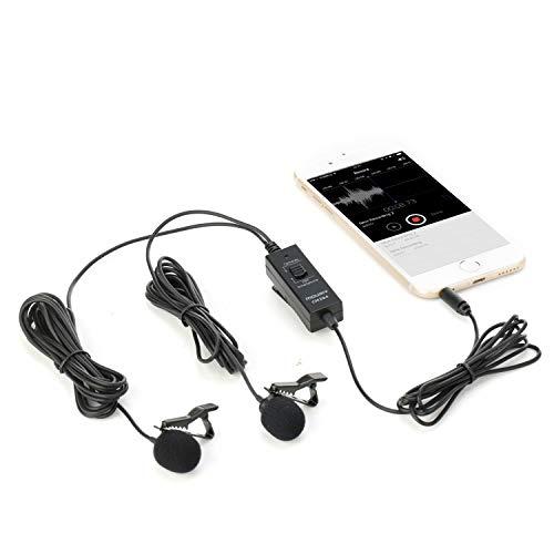iPhone、Androidスマートフォン、デジタル一眼レフカメラ、レコーダー、カメラ用のMouriv CM204デュアルラバリアコンデンサーマイクとフォーム