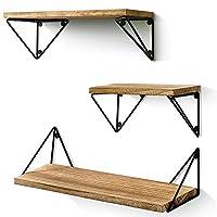 BAYKA 悬浮架壁挂式3件套乡村木质墙壁架,适用于客厅、卧室、浴室