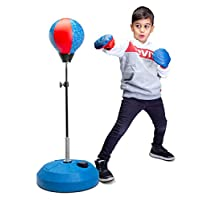Tech Tools 儿童拳击袋,带支架的拳击套装,包括儿童拳击手套 - 高度可调节 - 非常适合儿童锻炼和娱乐活动