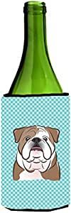 Caroline's Treasures BB1182LITERK 棋盘蓝色阿富汗猎犬*瓶 Koozie Hugger 蓝色 750 ml BB1157LITERK