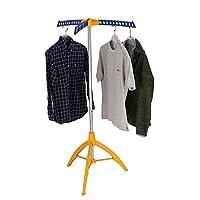 mingol 可折叠晾衣架,便携式服装架内部,可折叠立式洗衣架,用于干燥衣物,三脚架,衣架,橙色和蓝色