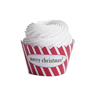 Dress My Cupcake Personalized Message Cupcake Wrappers, Striped, Merry Christmas, Set of 12