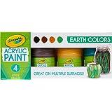 Crayola 颜料套装,多面工艺颜料,绘画用品,4 支装 地球音调