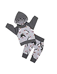幼儿婴儿男婴企鹅长袖连帽衫上衣运动装口袋裤2件套套装