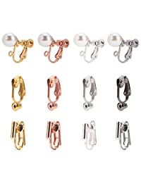 PandaHall 48 件 3 种风格夹式耳环转换器 4 种颜色黄铜耳环夹耳环带亚克力仿珍珠和环适用于非穿孔耳朵女士男士女孩