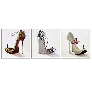 视觉美 室内装饰画背景墙无框联画高跟鞋三联画XMSJM-064 白色/花色 60*60cm
