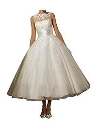 VEPYCLY 女士蕾丝低圆领无袖裙长裙薄纱新娘礼服婚纱