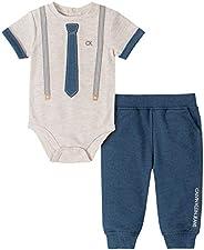 Calvin Klein 男婴 2 件裤子套装 Oatmeal/Blue Point 6-9 Months