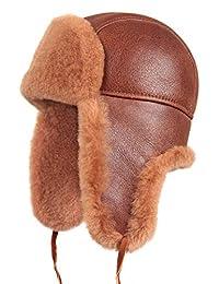 Zavelio 羊毛羊皮飞行员俄罗斯 Ushanka Trapper 冬季毛皮帽