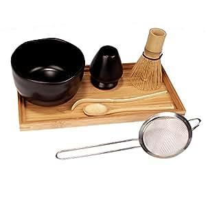 日本仪式火柴绿茶打火器套装 - 金色逐闪起,*熏,茶匙,黑色碗,黑色托,滤茶盘 黑色 6955114998290a