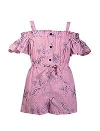 Bonnie Jean 女童 7 月 4 日 褶皱刺绣条纹连衫裤 4-16