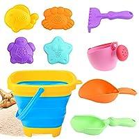CHLORIS 沙滩沙玩具套装适合儿童和幼儿户外沙箱玩具,带彩色沙滩桶、喷壶、铲子、耙子和动物模具(9 件)