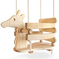 Ecotribe 木制摇摆,幼儿和婴儿秋千,户外和室内使用,环保光滑桦木与天然棉绳,涂漆摇椅,适合 6 个月至 3 岁的宝宝 Wooden Giraffe Toddler Swing 长颈鹿