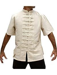 Raan Pah Muang 品牌中式领短袖棉质*衬衫多纽扣