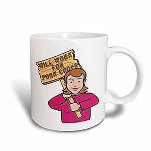 3dRose Dooni Designs 幽默的贿赂标志讽刺设计 - 趣味幽默的女人女孩带标志的Pork Chops - 马克杯 蓝色/白色 11-oz Two-Tone Blue Mug mug_117373_6