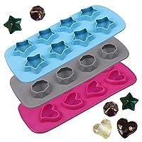 硅胶冰模,AFUNTA 3 件硅胶心形,钻石,五角星模具,用于制作冰块,果冻,糖果,易拆易清洗 - 粉色/蓝色/灰色