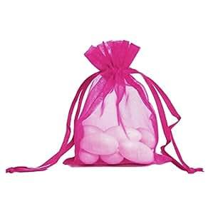 KINGWEDDING 6 英寸 x 9 英寸 16x22 厘米欧根纱抽绳强力糖果首饰袋礼品袋适合派对婚礼礼物(100 件) 桃红色