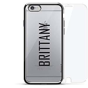 镀铬系列 360 套装:设计师手机壳 + 钢化玻璃 适用于 iPhone 6/6s PlusLUX-I6PLCRM360-NMBRITTANY2 NAME: BRITTANY, MODERN FONT STYLE 银色