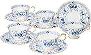 Narumi 鸣海 Milano系列 茶杯茶碟套装 蓝色 210cc(约210ml) 五组 茶 日本制 9682-21734