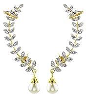 YouBella Gold Plated American Diamond Leaf Shape Ear cuffs Earrings